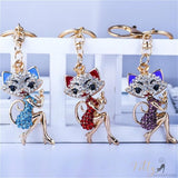 golden cat keychains with colorful rose quartz