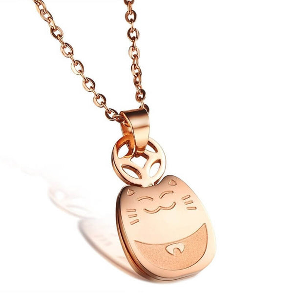 rose gold plated cat necklace on white background kittysensations