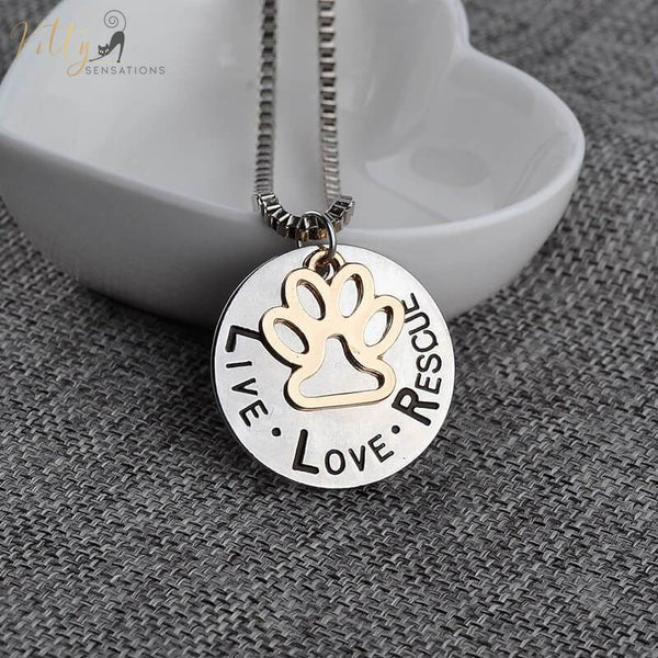 silver and golden cat necklace with 'live love rescue' writing
