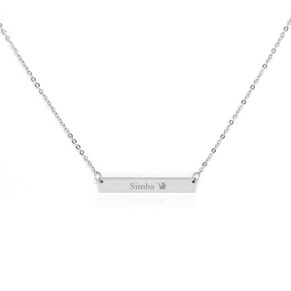 silver cat bar necklace with custom engraving on white background 8371862