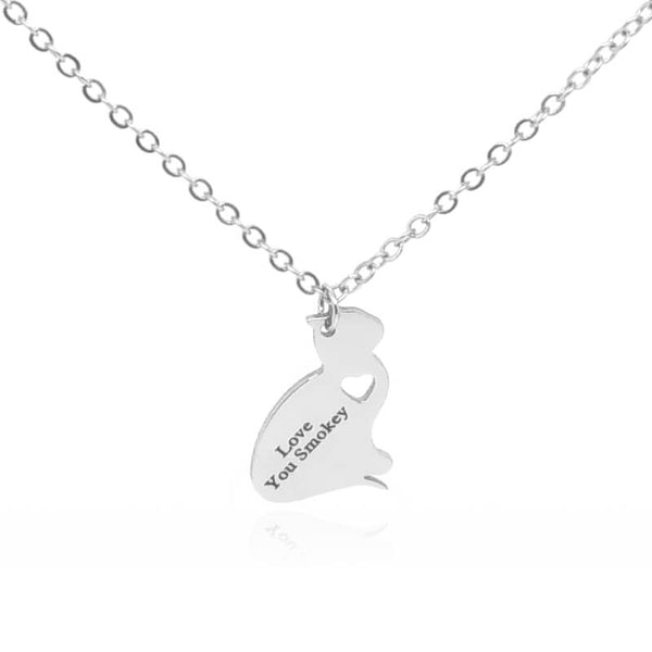 silver cat pendant necklace with personal engraving on white background 9995456-silver