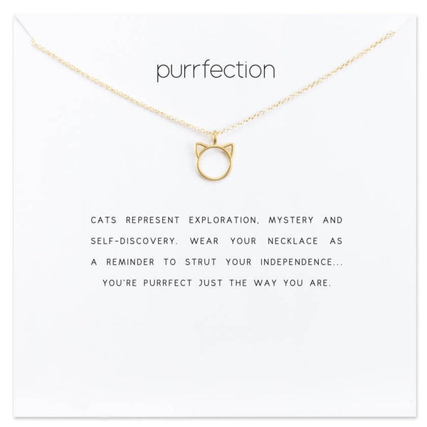 purffection cat necklace golden on card