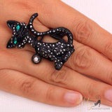 black cat stretch ring worn kittysensations