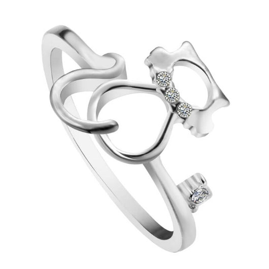 silver cat ring with cubic zirconias on white background kittysensations 2196286-7-silver-plated