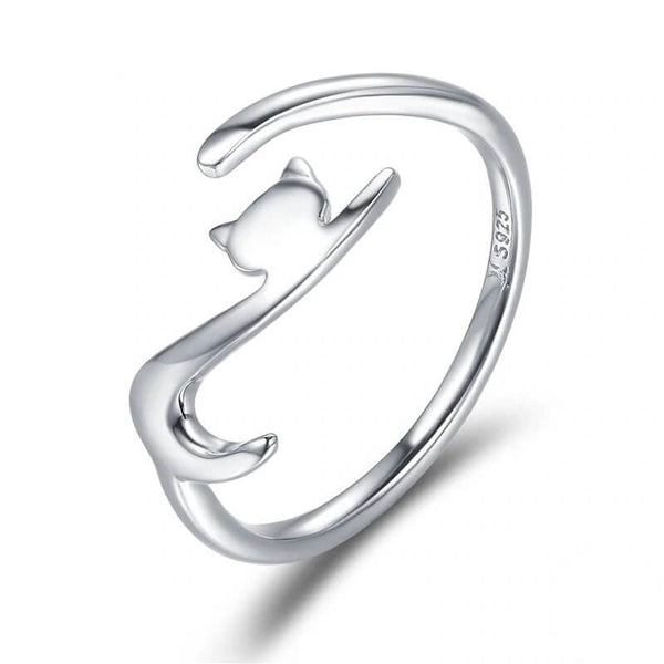 elegant cat ring in sterling silver on white background 12531362