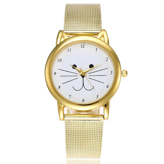 golden cat wristwatch standing on white background 6730414-gold