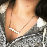 silver cat bar necklace with custom engraving worn around neck 8371862