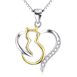 heart cat necklace in silver and gold on white background 4131000