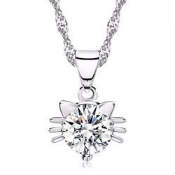 cubic zirconia cat necklace in sterling silver on white background 3975943-silver-plated-white