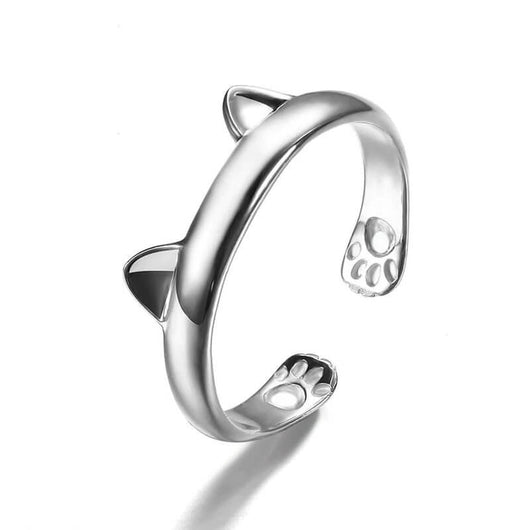 flexible silver cat ring with tiny ears and paws on white background