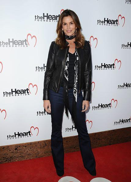 Cindy Crawford Snapped Wearing Rockins Classic Skinny Fringe Scarf