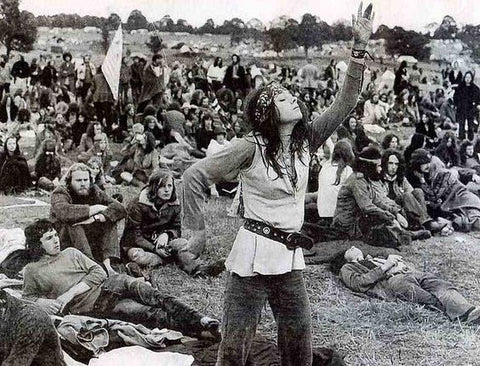 Glastonbury 1970's dancer and crowd