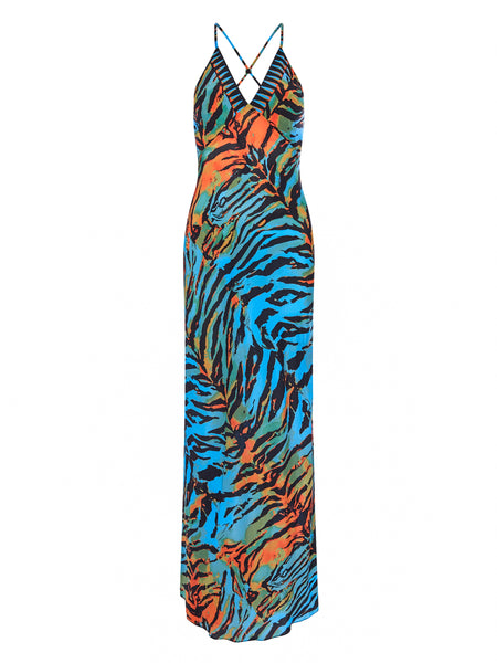 Acid Tiger Blue & Orange Slip Dress