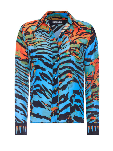 Acid Tiger Blue & Orange Classic Shirt