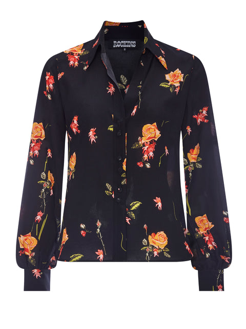 Bell Sleeve Shirt Devil Flower
