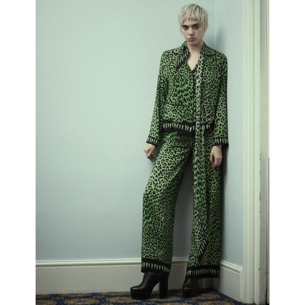 Leopard Teeth PJ Trouser Green