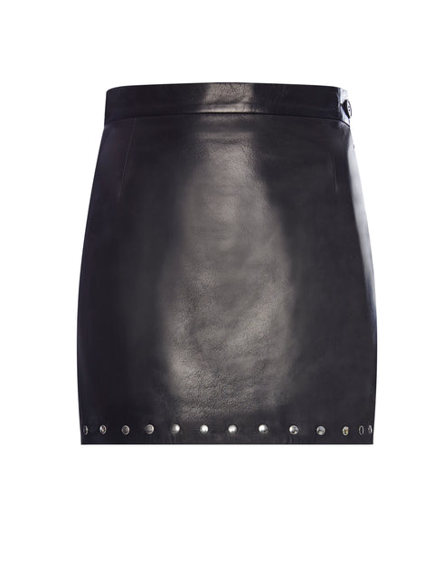 Punk Lux Leather Studded Mini Skirt