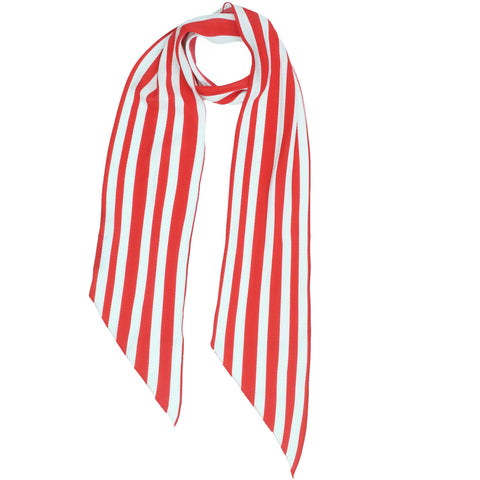 Stripe Classic Skinny Scarf Red & White
