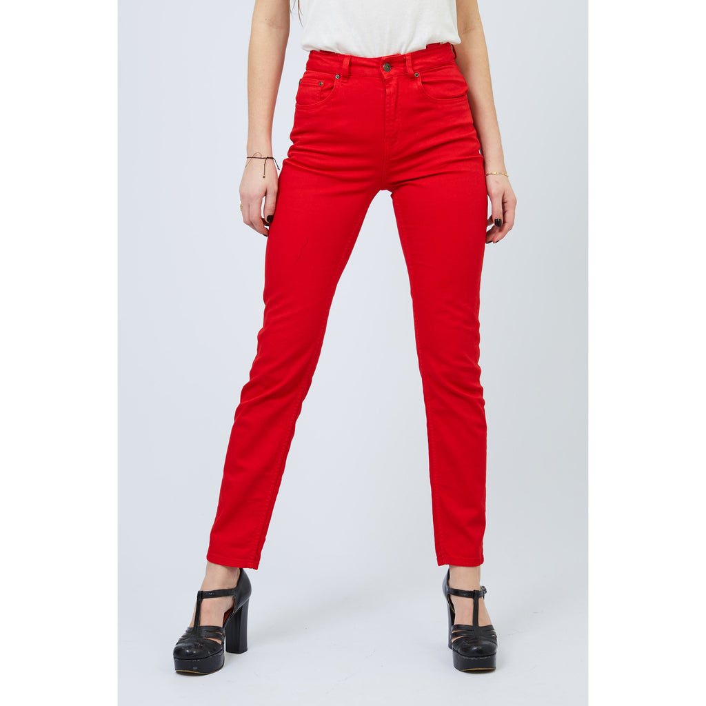Stretch High Rise Straight Leg Red