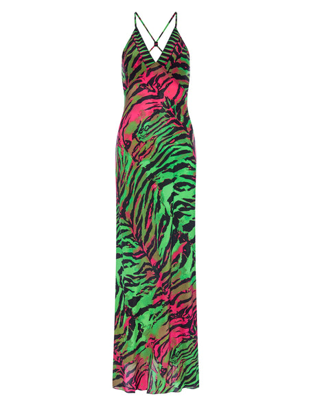 Acid Tiger Green Slip Dress