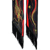 Dragon Classic Skinny Fringed Scarf Black & Red