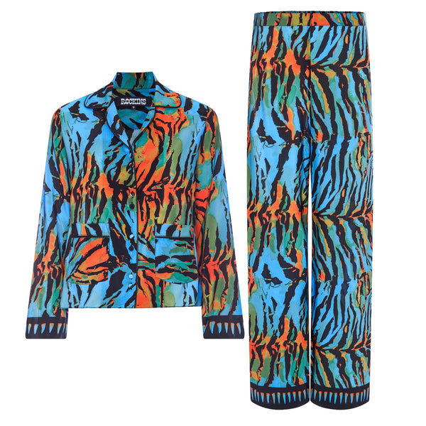 Acid Tiger Blue & Orange PJ Set