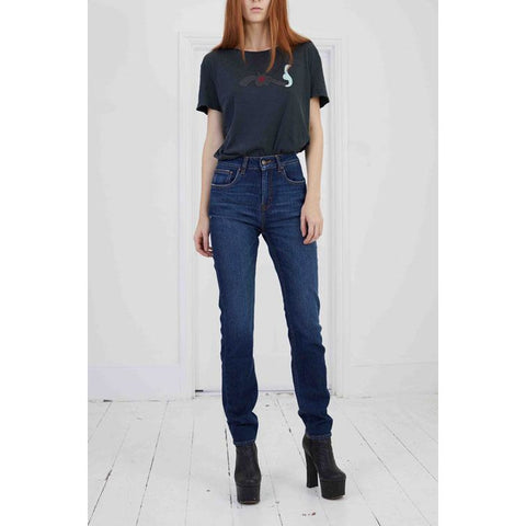 Stretch Classic High Rise Straight Leg Dark Indigo