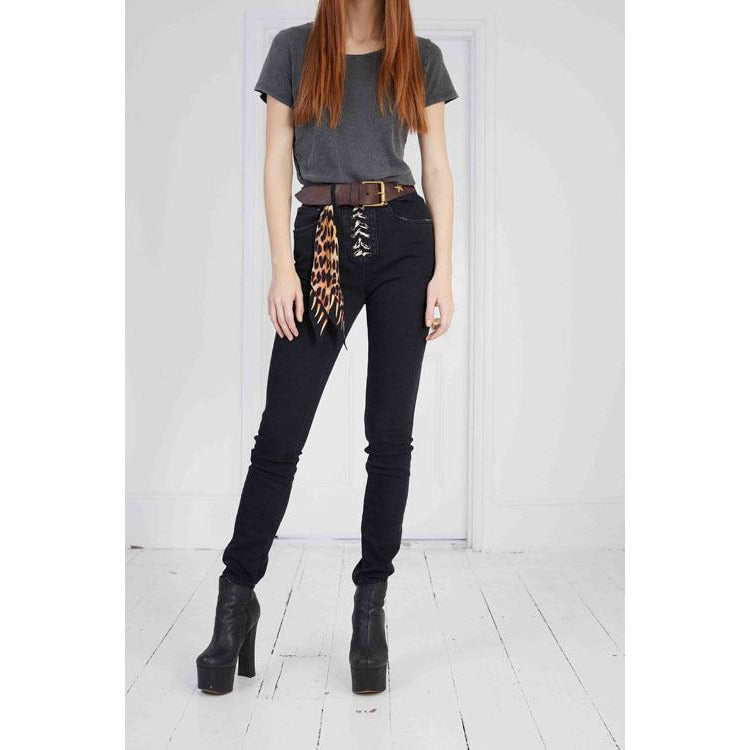 Stretch Lace Up High Rise Skinny Leg Washed Black