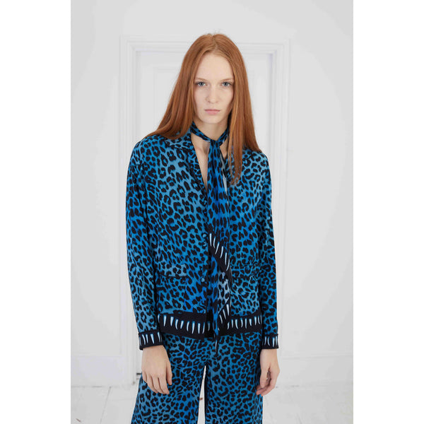 Leopard Teeth PJ Top Blue