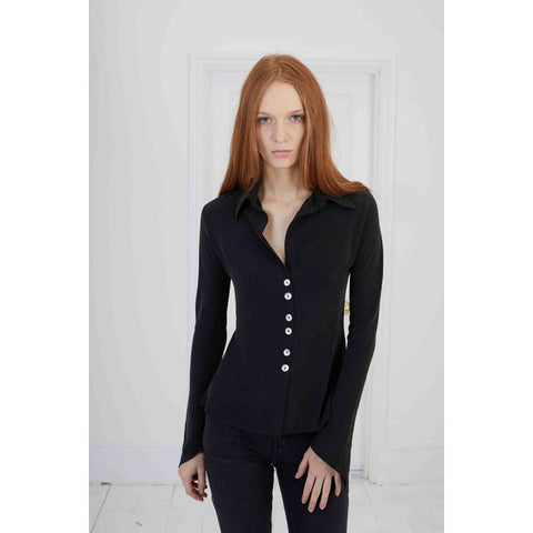 Plain Mitred Sleeve Silk Shirt Washed Black