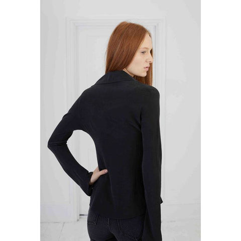 Plain Mitred Sleeve Silk Shirt Washed Black Upper Body Shot Back