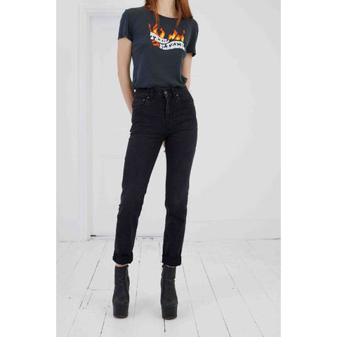 High Rise Rigid Denim Jean Washed Black