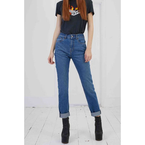 High Rise Rigid Denim Jean Medium Indigo