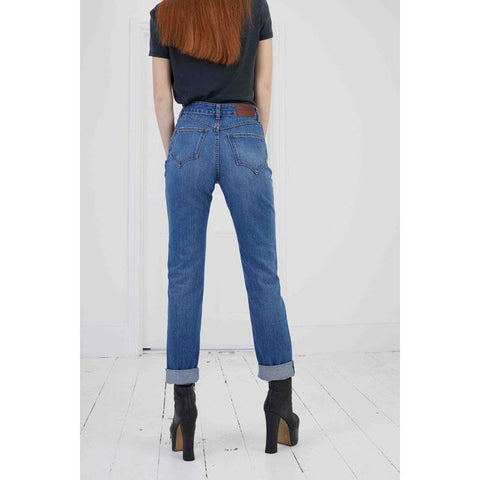 High Rise Rigid Denim Jean Medium Indigo Back Shot