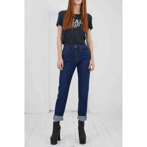 High Rise Rigid Denim Jean Dark Indigo