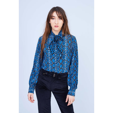 Blue Snakeskin Bell Sleeve Shirt
