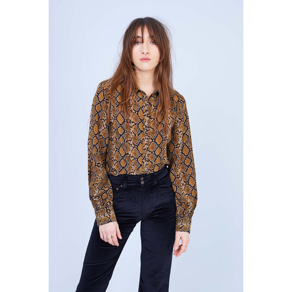 Snakeskin Bell Sleeve Shirt in Gold