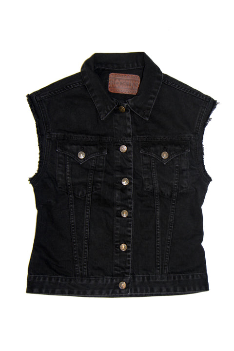 Sleeveless Denim Jacket Washed Black