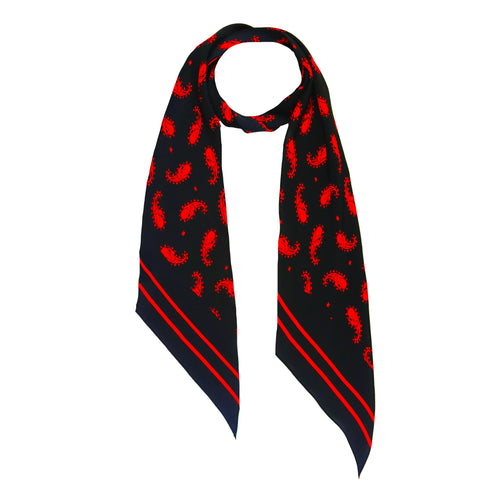 Rolling Stones Paisley Classic Skinny Scarf Black & Red