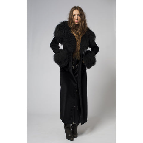 Black Shaggy Sheepskin Maxi Coat