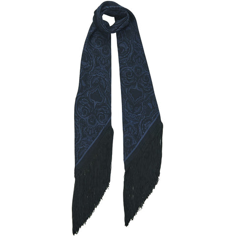 Black On Black Paisley Classic Skinny Fringed Scarf Black