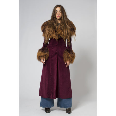 Bordeaux Shaggy Sheepskin Maxi Coat