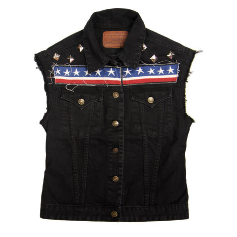 Sleeveless Customised Denim Jackets Arrows
