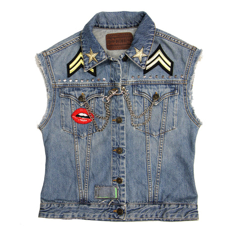 Sleeveless Customised Denim Jackets Chelsea Girl