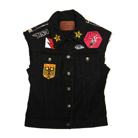 Sleeveless Customised Denim Jackets Feathers