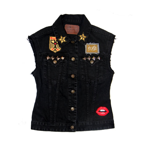 Sleeveless Customised Denim Jacket Flora