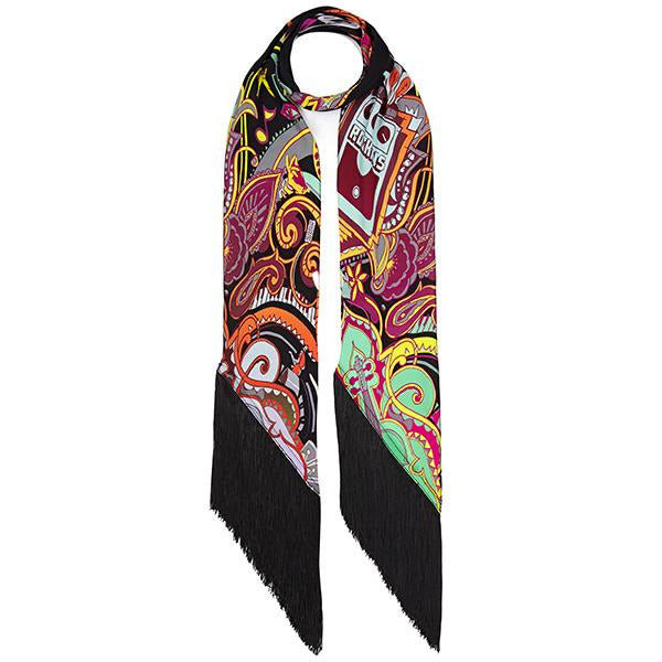 Music is Medicine Classic Skinny Fringed Scarf Black