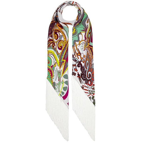 Music is Medicine Classic Skinny Fringed Scarf Ivory