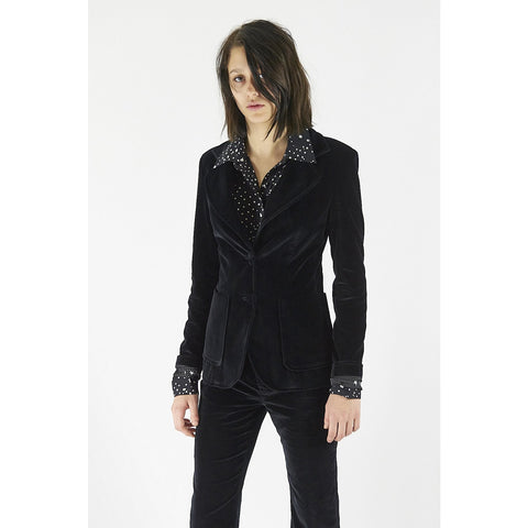 Classic Two Button Blazer Black Velvet Black