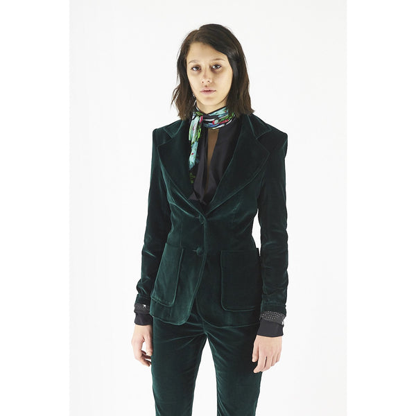 Classic Two Button Polka Star Lined Blazer Emerald Velvet